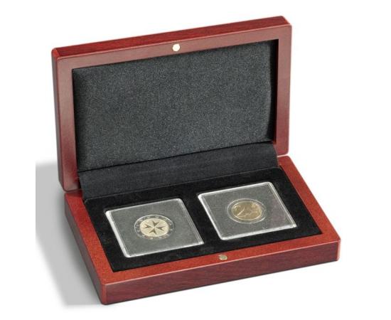 Футляр деревянный VOLTERRA для 2 монет в капсулах Quadrum. Leuchtturm