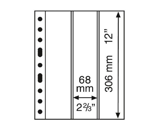 Лист GRANDE 3VC (прозрачный), на 3 ячейки. Leuchtturm