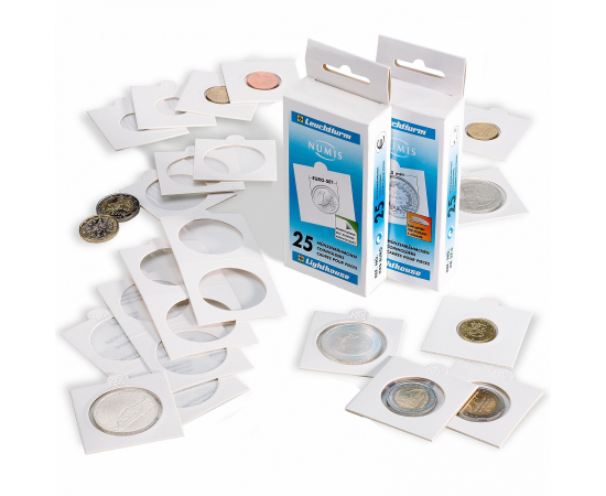 Холдеры для монет (белые) KR 35 мм, под скрепку, упаковка 25 шт.
