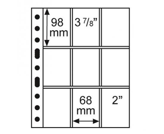 Лист GRANDE 3/3C (прозрачный), на 9 ячеек. Leuchtturm