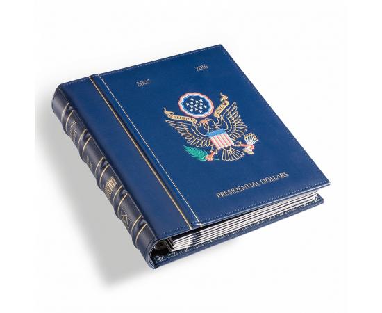 Альбом для президентских долларов США, в футляре, с листами. Leuchtturm