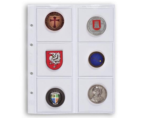 Лист для монет OPTIMA, на 6 ячеек. Leuchtturm