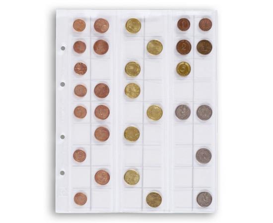 Лист для монет OPTIMA 20, на 54 ячейки. Leuchtturm
